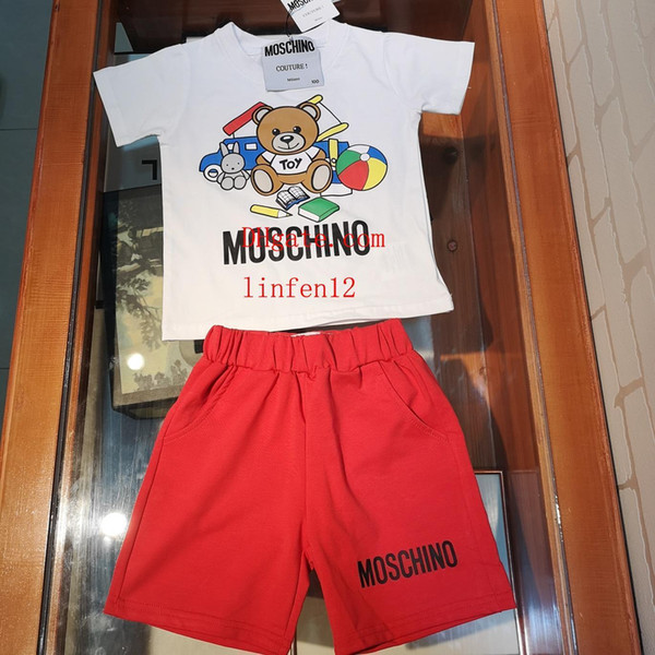 2019 new kids brand clothes boys baby girl clothes maillot de foot shorts Cartoon bear cotton fabric sportswear baby infant boy clothes