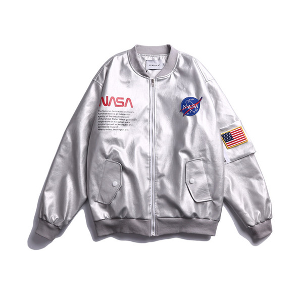 best selling NASA Jacket Outerwear MA1 Flight Pilot Bomber Designer Jacket Men Women Silver Windbreaker Baseball Wintercoat Mens Jackets Size M-XXL