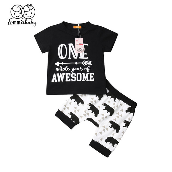Toddler Baby Boy Clothes Set Newborn Kid Outfit My First Birthday T Shirt Cute Bear