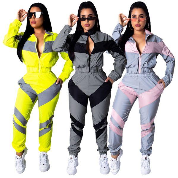 Women casual sweatsuit striped print 2 piece set long sleeve hoodies bodycon pants designer fall winter clothing fashion running suit 1511
