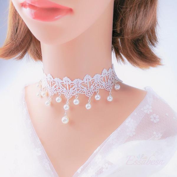 Noiva do casamento Lace Clavicle Colar Gótico Jóias Branco Oco Flor Rosa Simulado Pérola Bordado Rendas Gargantilha Casamento