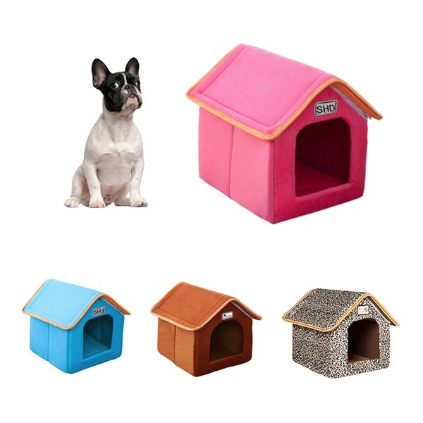Pet Dog House Foldable Bed With Mat Soft Winter Leopard Dog Puppy Sofa Cushion House Kennel Nest Dog Cat Bed Small Medium Dogs