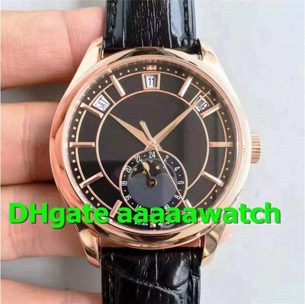 Top montres des marques 5205G Calendrier annuel MoonPhase 24 heures Dial Dial automatique 324SQ 18K Rosegold Case Leather Watch Mens