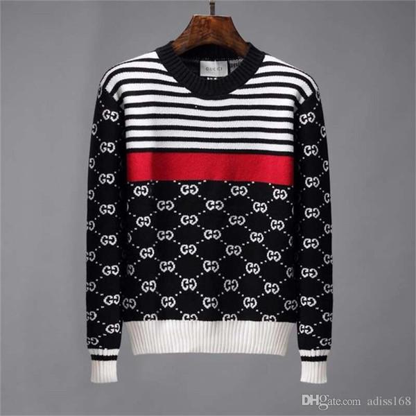 Luxury de igner men 039 women 039 knit weater letter fa hion long leeve pullover knit ca ual weater ize  3xl, White;black
