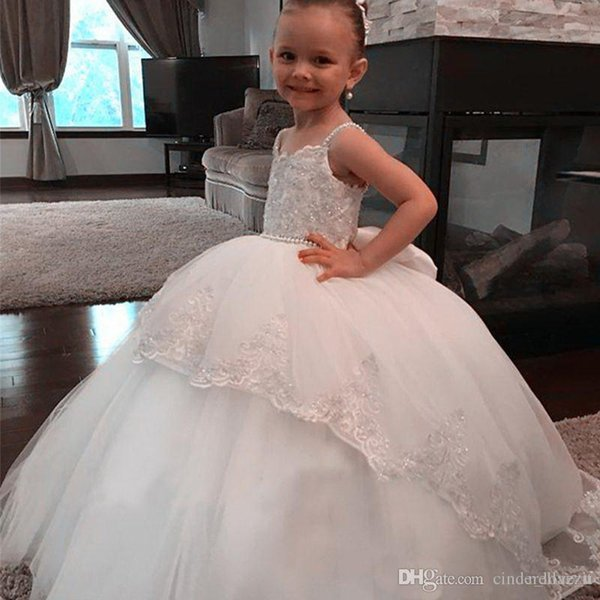 Newest Princess Flower Girl Dress Beaded Spaghetti Straps Lace Appliques Puffy Tulle Flowergirl Dresses Vintage Kids Gown for Weddings