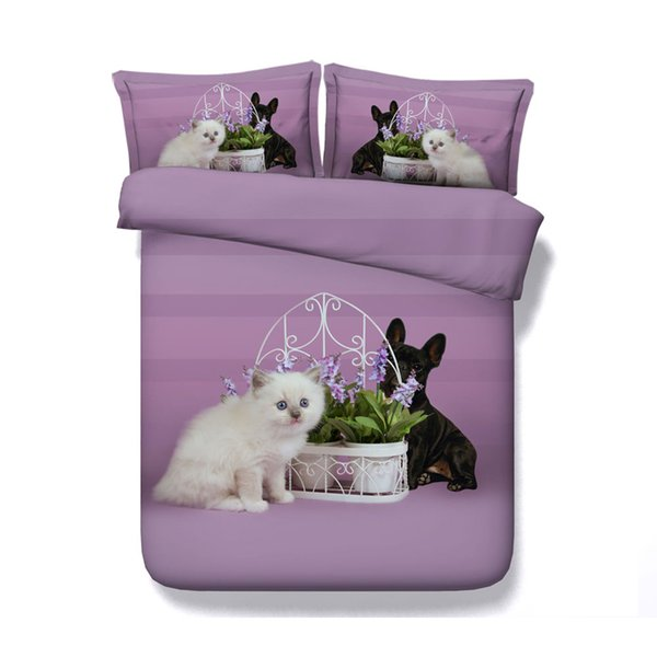 Cats Dogs Print Cute Kids Full Duvet Cover Bed Set Bedding Sets For Boys Girls Teen Students Queen Soft Microfiber Comforter Cover