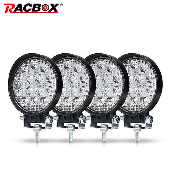 Bar / İş Işık RACBOX 4 İnç 42W Araç Çalışma LED Işık Lamba Offroad Tekne Araba Motosiklet SUV Sürüş Aydınlatma Yuvarlak Projektör Spotlight