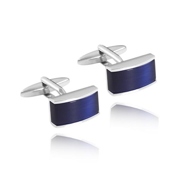 Novo Requintado Azul Quadrado Camisa Abotoaduras Único Abotoaduras De Retenção De Cor De Cobre Qualidade Mens Francês Botão De Punho Para O Casamento
