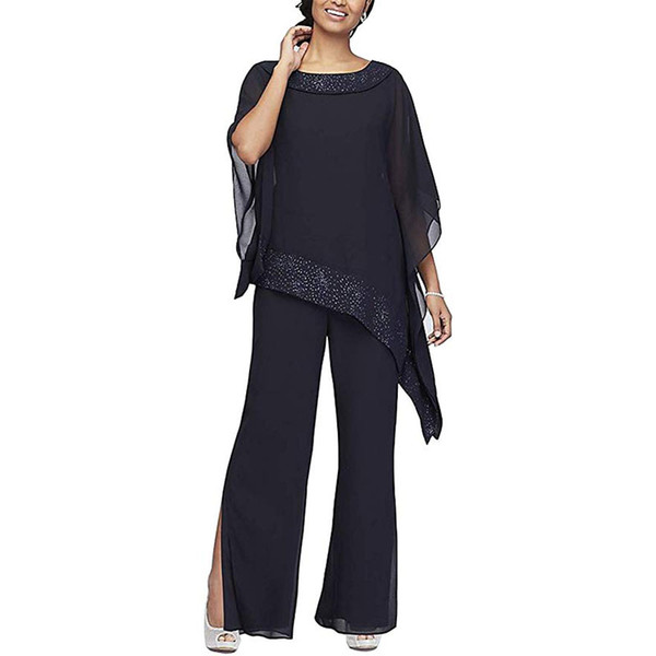 Hot Sale Beaded Mother Of The Bride Pant Suits Bateau Neck Long Sleeves Wedding Guest Dress Plus Size Chiffon Mothers Groom Dresses