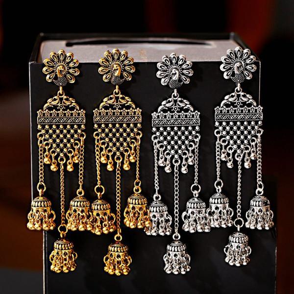 2019 Vintage Geometric Long Jhumka Earrings For Women Flower Boho