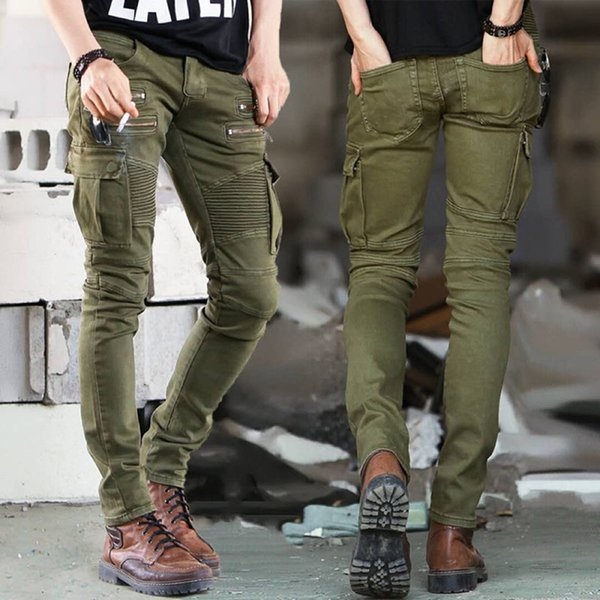 best selling Mens Jeans New Fashion Mens Stylist Black Green Jeans Skinny Ripped Destroyed Stretch Slim Fit Hip Hop Pants For Men