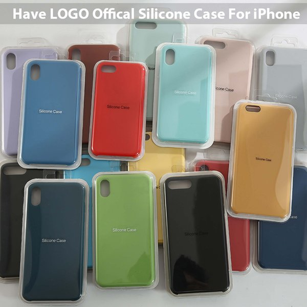 have logo official silicone cases for iphone 7 8 6 plus cover capa for iphone x xs max xr case on iphone 7 6s 8 plus x 5s coque
