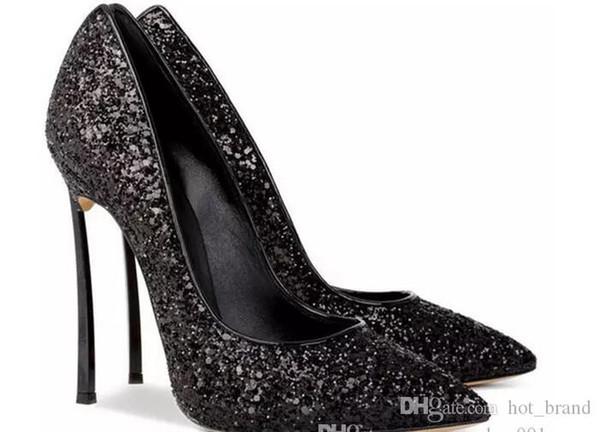 Hot Selling Women Glitter Wedding Shoes Pointed Toe Slip-on Celebrity Stilettos Women High Heel Pumps Shining Mesh Plus Size shoes