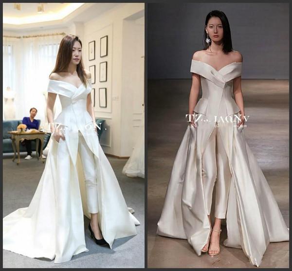 2019 New Women Dresses Jumpsuit With Long Train White Evening Gowns Off Shoulder Sweep Train Elegant Zuhair prom Dress Vestidos Festa