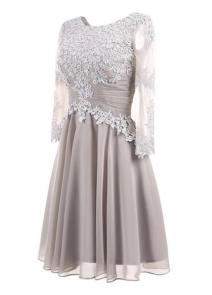 Sparkly Jewel A Line Short Evening Dresses Lace Applique Long Sleeves Evening Dress Pageant Celebrity Gowns Custom Made Evening Gowns