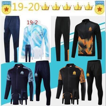 Olympique de Marseille giacca tuta Calcio Maglia piede 2019 PAYET BALOTELLI THAUVIN OM Football completo giacca Zipper tuta Taglia S
