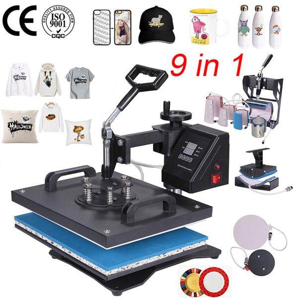 double display 9 in 1 Combo Heat Press Printer Machine 2D Thermal Transfer Printer for Cap Mug Plate T-shirts Printing Machine