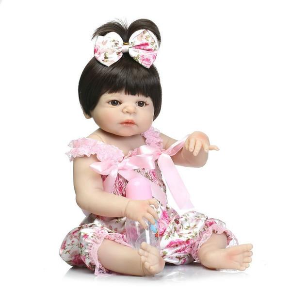 19 pouces 46 cm Adorable Reborn Poupée À La Main Plein Silicone Bebe Reborn Garçon Poupée Boneca Mode Bébé Poupées Pour Les Filles