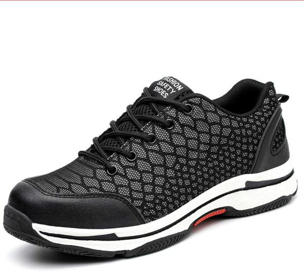 Ayakkabı erkekler İş Sneakers örgü kumaş dantel-up çelik burunlu gece inşaat yansıtıcı Anti-smashing anti-piercing güvenlik ayakkabıları