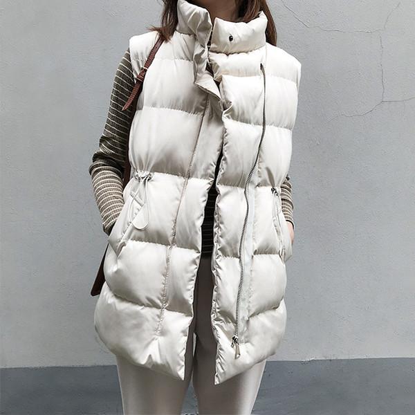 Winter Sleeveless Cotton-padded Coat Vest Women Autumn Long Vests Jacket Female 2019 New Korean Stand-up Collar Waistcoat Ladies SH190902
