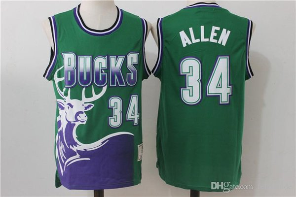 new styles 28e0f ee131 2019 Milwaukee Ray Allen Bucks Jersey Retro Vintage Green Purple Giannis  Antetokounmpo Basketball Jerseys Shirts High QualitY IN STOCK From ...