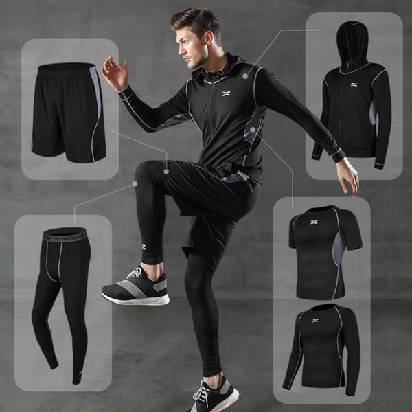 5PCS/Set Man Sports Suit Quick Dry Basketball Tights Compression Leggings Runnicksuit Shorts Sports Pants Gym Shorts Outdoor Jogging Set