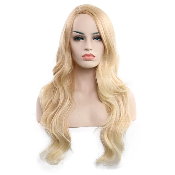 new fashion gold Long Wavy wig 65 cm Synthetic Hair Wigs