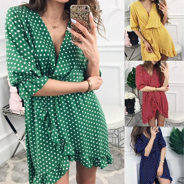 2019 Hot Sale Sexy V-neck Ruffle Dress Women Solid Wave Point Slopping Dresses Polka Dot Skirt For Ladies And Girls wholesale