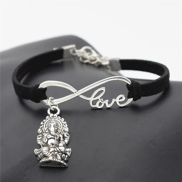 Infinity Love Méditation Éléphant Religion Thaïlande Ganesha Bouddha Bracelet Noir Tressé En Cuir Suede Bracelets Accessoires Meilleurs Amoureux Cadeau