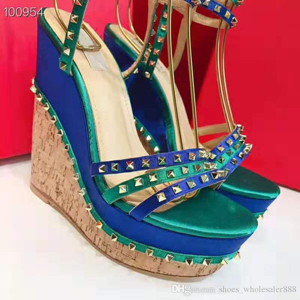 Top single item high difficulty craft women's sandals Original fabric, hardware, outsole Super chic women's wedge sandals