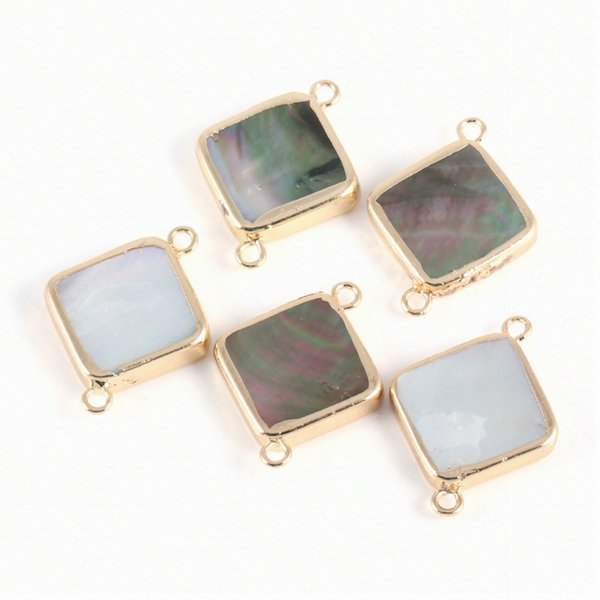 JNMMNatural Square Pearl Shell Connector Fashion Jewelry DIY Bracelet Necklace Glamour Jewelry Making19*25