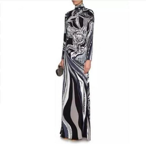 Bahar Lüks Markalar Jersey İpek Uzun Elbise kadın Vintage Mavi Barok Baskı Spandex Gerilebilir İmza Maxi Elbise
