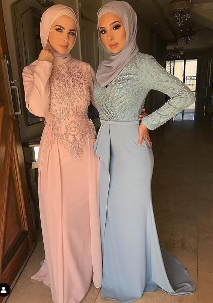 Pink Sexy Beaded Muslim 2019 Prom Dresses Long Sleeves A-line Chiffon Evening Dresses Cheap Sexy Formal Party Bridesmaid Pageant Gowns