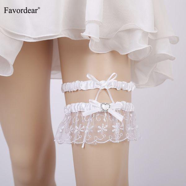Favordear White Lace Perlen Gummiband Hochzeit Strumpfband 2 PC Sexy Stocking Bow Ribbon Braut Strumpfband Gürtel für