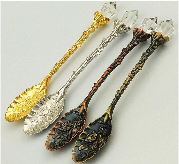 top popular Crystal Retro pattern Tea Spoon Stir Coffee Spoon Honey Dessert Ice Cream Scoop Teaspoon Tableware Free Shipping 2021