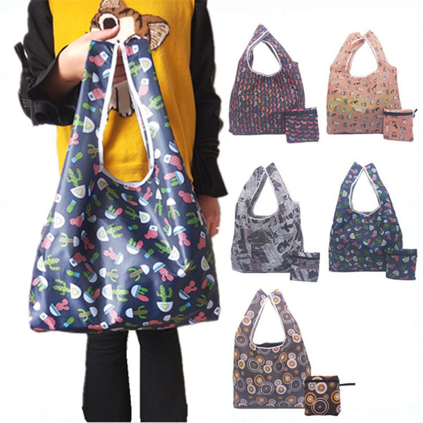 1pcs women bag 3 Colors polyester Foldable Recycle Shopping Bag Eco Reusable Tote Cartoon animal Fruit Vegetable Grocery