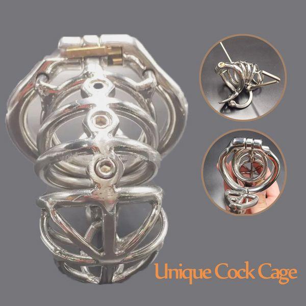 Yeni iffet cihazları ile 70mm uzunluk paslanmaz çelik erkek iffet kafes skrotum ayırma kanca metal çivili cock cage