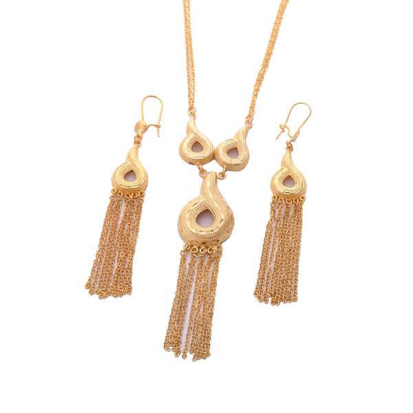 Nouveaux bijoux de mariage éthiopien ensemble de bijoux en or 24K couleur collier boucles d'oreilles bijoux de mariée africaine