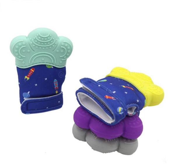 Kid Safety Teether gloves Star Silicone Baby Teether Glove Baby Teething Mitts Newborn Nursing Mittens Teether KKA6598