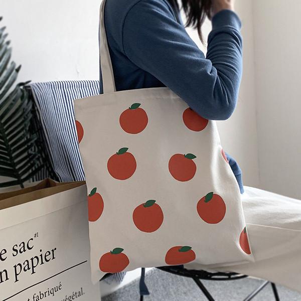 Оптовая Леди женщин девушки девичьих студент сумка плеча Tote холщовый мешок с фруктами Симпатичные Pattern Свежее Простой стиль Schoolbag отпуск B102174Z