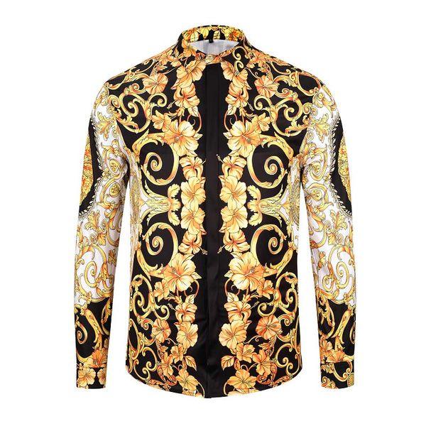top popular Fashion Men's Shirts luxury Mens Business Casual Shirt men Dress Shirts Long Sleeved Slim Fit Shirts Men Medusa Shirt 2020