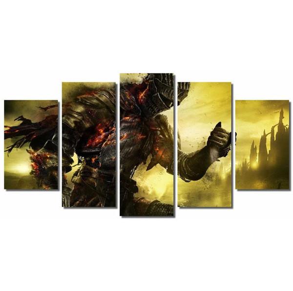 Dark Souls 3 Videogiochi, 5 Pezzi Home Decor HD Stampato Arte Moderna Pittura su Tela (Senza cornice / Incorniciato)