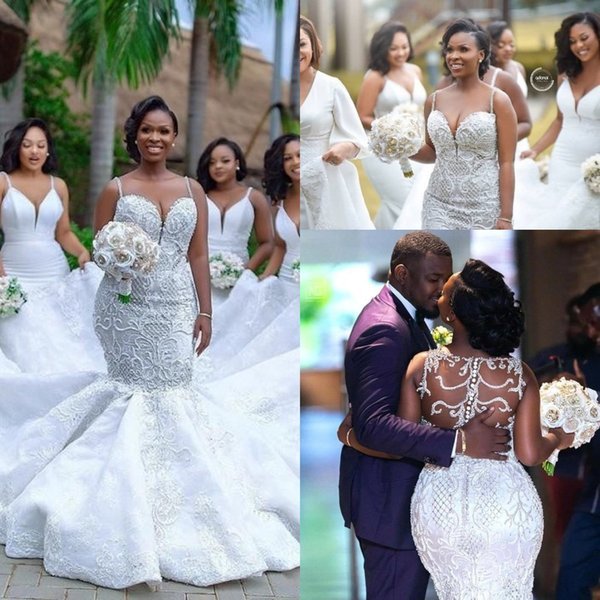 best selling Plus Size Mermaid Wedding Dresses Spaghetti Lace Appliqued Pearls Beads Country Wedding Dress Custom Made Beach Bridal Gowns BC2025