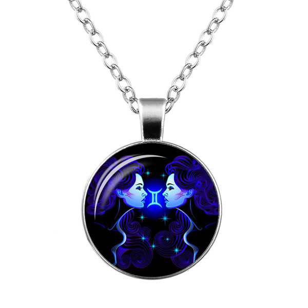 Fashion 12 Constellations Zodiac Gemini Time Gem Glass Cabochon Charm Necklace Silver Long Link Chain Choker Jewelry Wholesale for Women Men