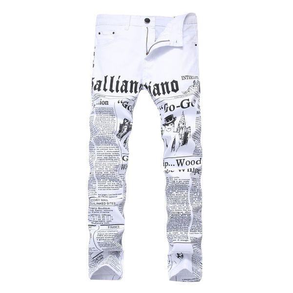 2019 Spring Summer Men Letter Print Jeans New Fashion Brand White Male Jeans for Man Casual Slim Fit Street Designer Pants