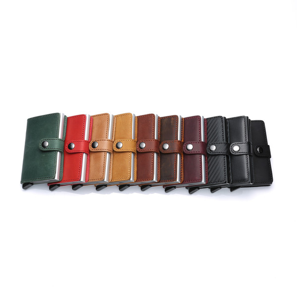 Mens Genuine Leather Fashion Wallets Mini Purse Male Vintage Automatical Aluminium Wallet Small Smart Money Bags