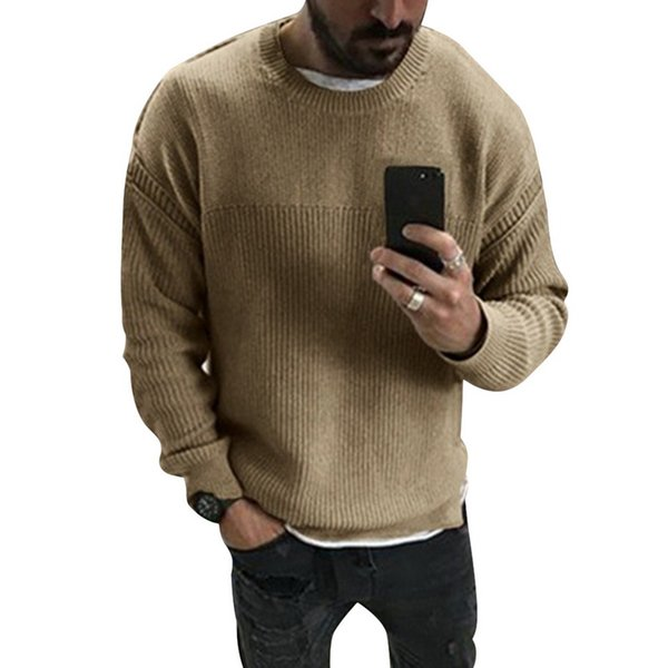 Men Casual Pullover Tops Round Neck Solid Jumper Long Sleeve Autumn Sweatshirt