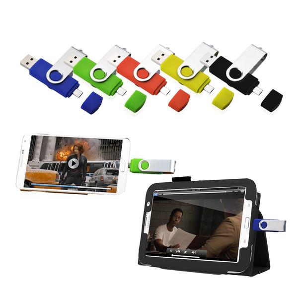 Bulk Multicolor 10PCS 16GB OTG USB Flash Drive Swivel Memory Stick Thumb Drives Pen Storage for Computer Android Smartphone Tablet Macbook