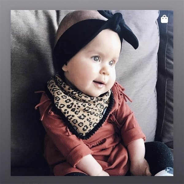 New baby Bibs leopard print Newborn Bib+bows baby headbands 2pcs cotton Infant Burp Cloths girls designer headband baby accessories A5433