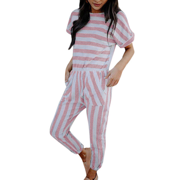 CHAMSGEND Women Jumpsuit 2019 Summer New Short Sleeve Striped Jumpsuit Fashion Casual O-Neck Slim Loose Long Apr26